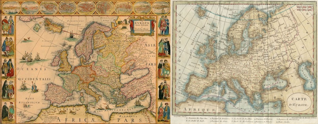 Left: Willem Bleu's 1650 map of Europe. Right: Robert Janvier's 1764 map of Europe.
