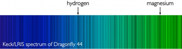 The spectra of Dragonfly 44. Credit: P. van Dokkum, A. Romanowsky, J. Brodie.