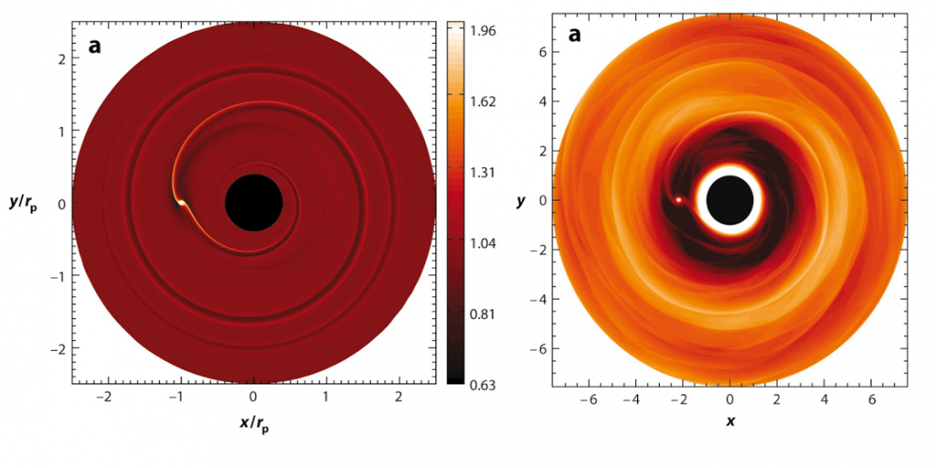 Computer Simulation of a protoplanetary disk. Credit: W. Kley, R.P. Nelson